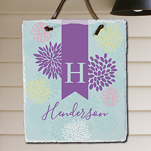 Personalized Abstract Floral Slate | Personalized Housewarming Gifts
