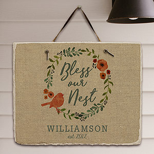 Personalized Bless Our Nest Slate Plaque 631111527