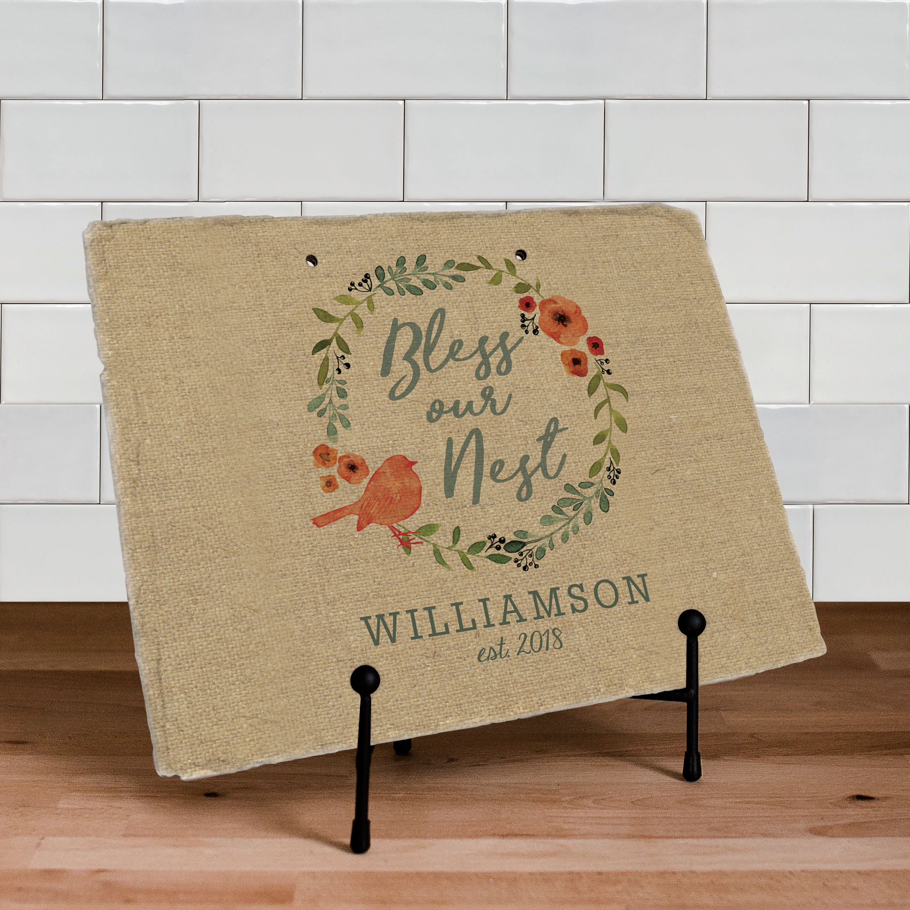 Bless Our Nest Personalized Slate Plaque | Personalized Housewarming Gifts