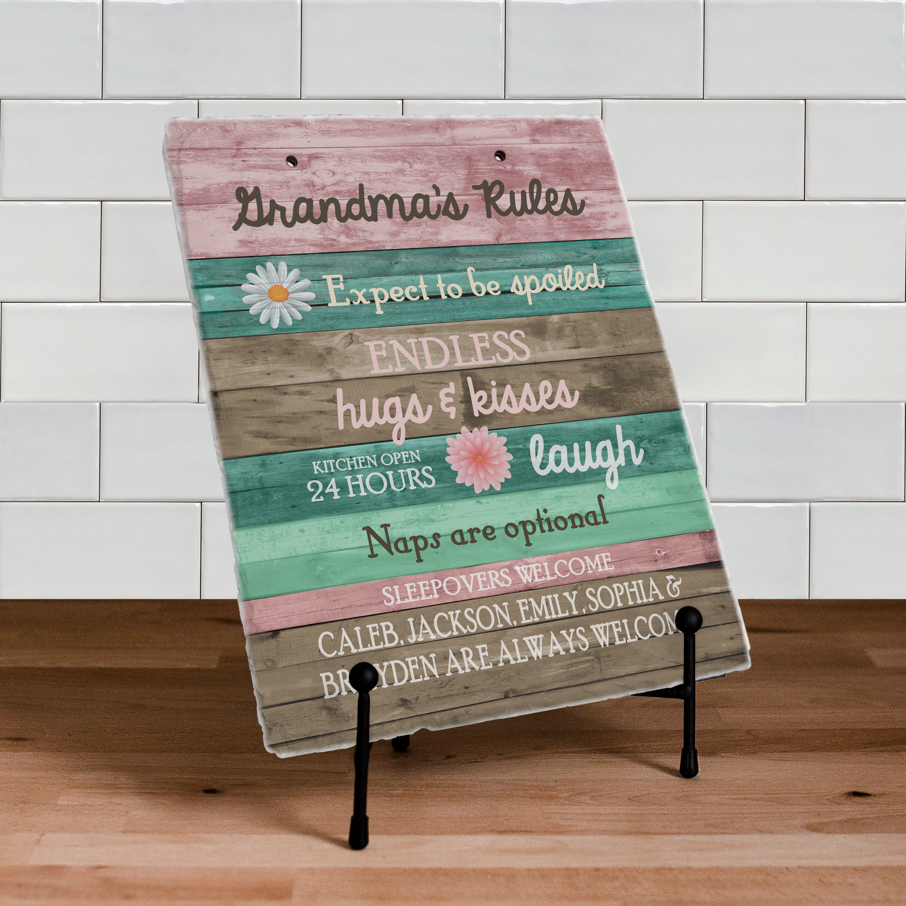 Personalized Grandma's Rules Slate Plaque | Personalized Gifts for Grandma
