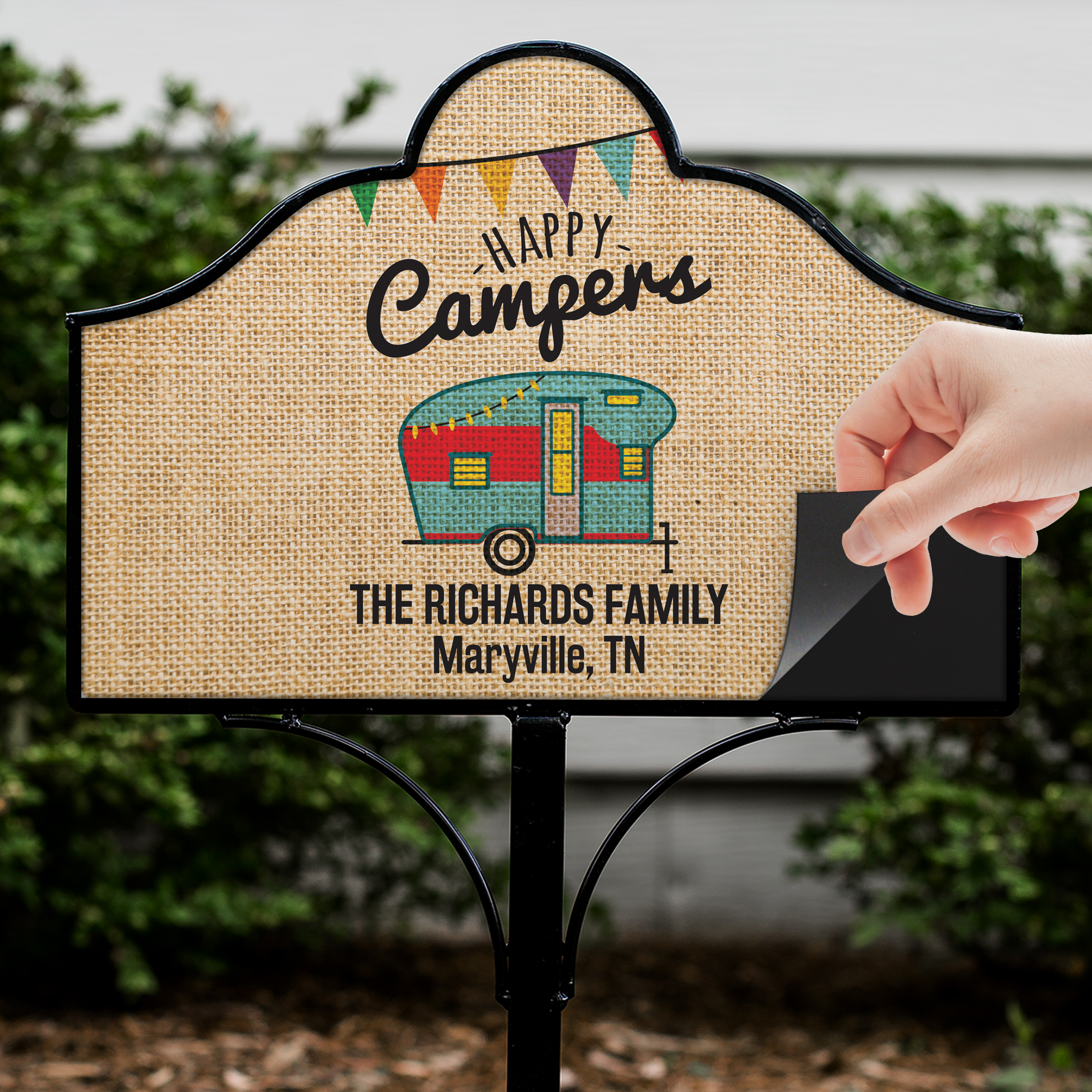 Personalized Happy Camper Magnetic Sign | Personalized Yard Signs