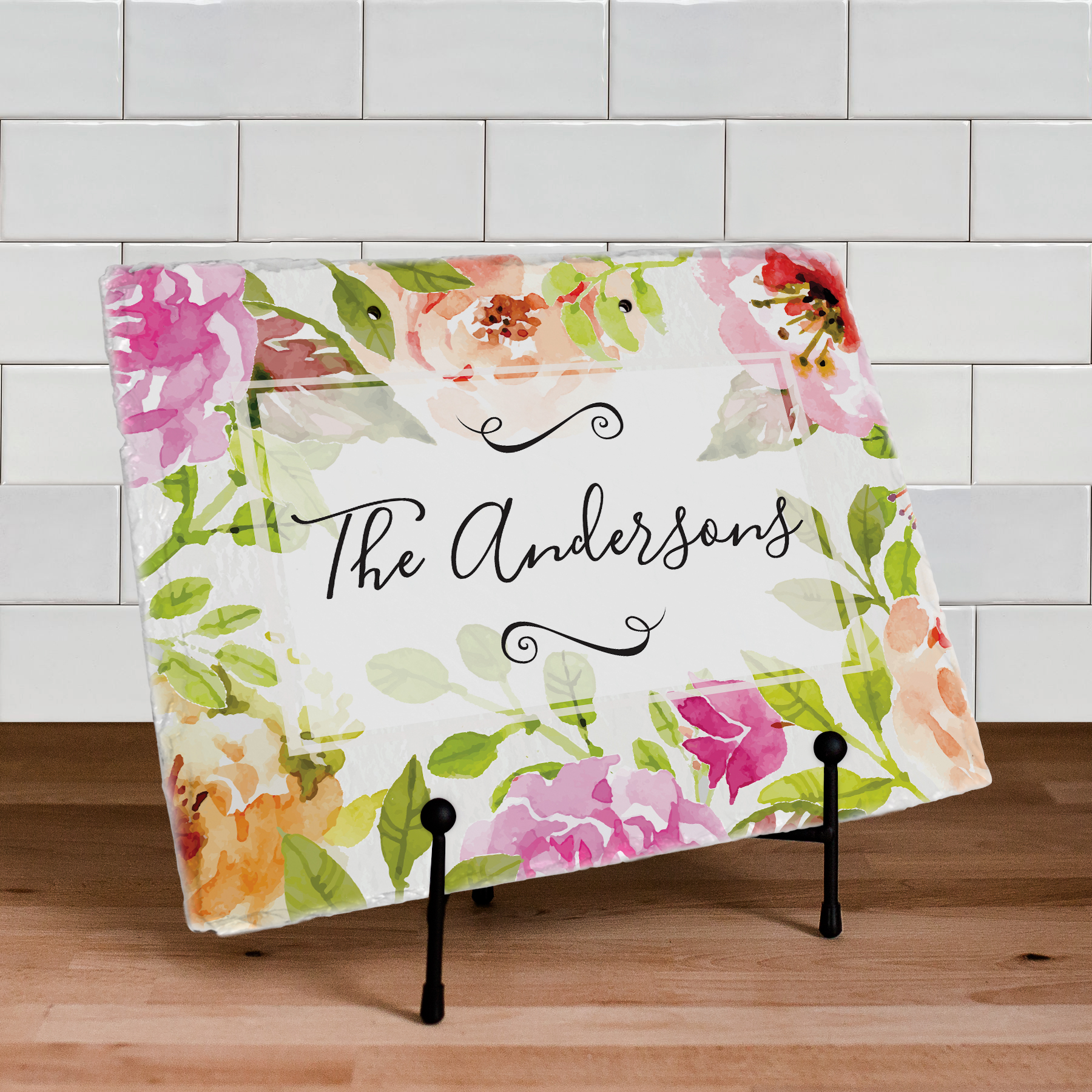 Personalized Floral Watercolor Slate Plaque | Best Housewarming Gifts