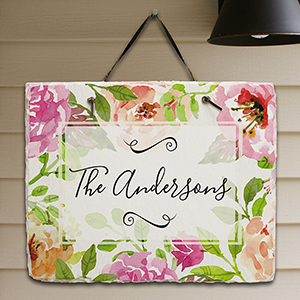 Personalized Floral Watercolor Slate Plaque 631112327