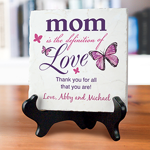 Personalized Mom Is The Definition of Love Marble Plaque | Personalized Keepsake Plaque