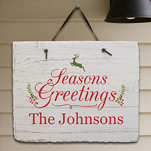 Personalized Seasons Greetings Slate Plaque | Personalized Christmas Decorations
