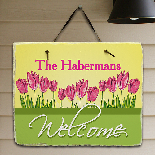Spring Tulips Welcome Slate Plaque | Personalized Welcome Signs