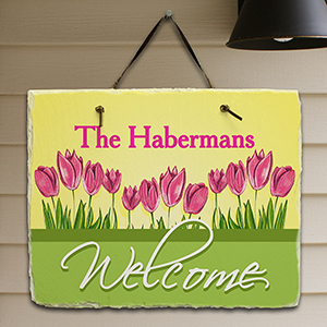 Spring Tulips Welcome Slate Plaque 63133287