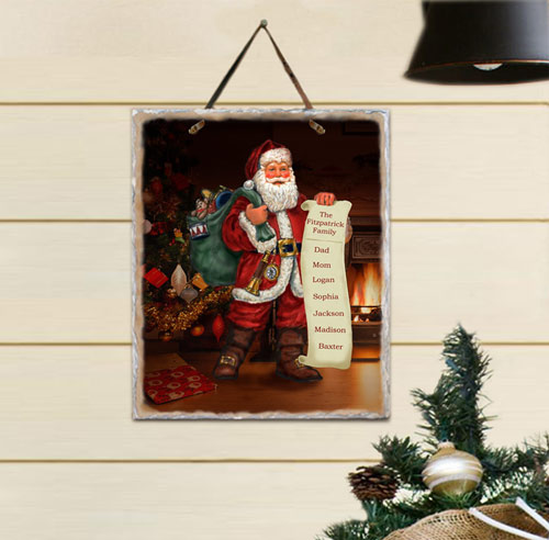 Personalized Santa's List Slate Plaque | Personalized Christmas Wall Decor