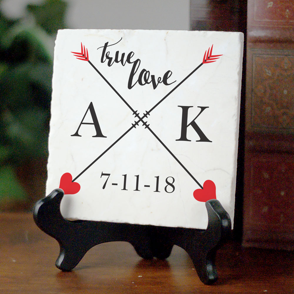 Personalized True Love Tumbled Marble Plaque | Romantic Home