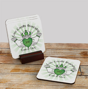 Personalized Claddaugh Coaster Set