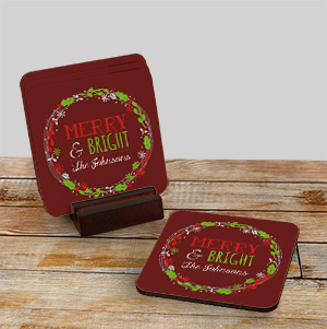 Personalized Merry Christmas Coaster Set