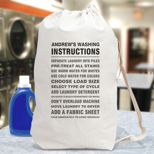 Personalized Washing Instructions Laundry Bag | New College Student Gifts