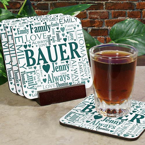 Family Word-Art Coasters