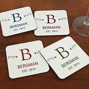 Family Monogram Personalized Coasters