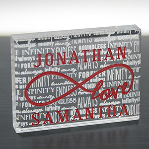 Engraved Love Infinity Acrylic Keepsake Block 7100383