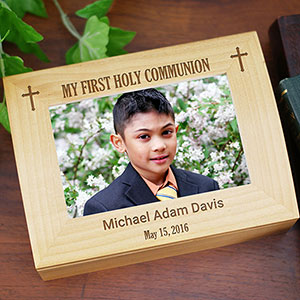 Engraved Cross First Communion Photo Box