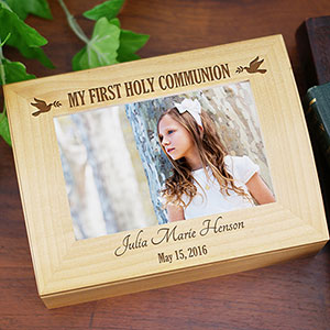 Engraved Dove First Communion Photo Box