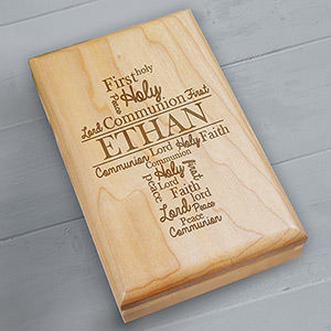 Engraved First Communion Wood Valet Box