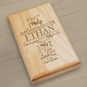 Engraved First Communion Wood Valet Box 7101265