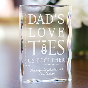 Engraved Dad's Love Ties Us Together Keepsake
