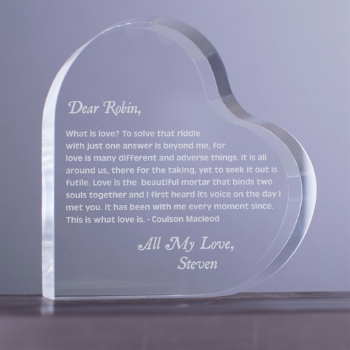 Engraved Dear Valentine Acrylic Heart Keepsake | Valentines Engraved Glass Gifts