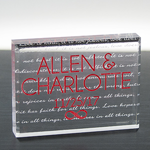 Engraved Couples in Love Acrylic Block | Romantic Home