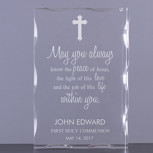Engraved First Communion Blessings Acrylic Keepsake Block 7111811
