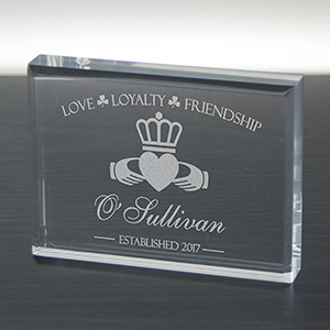 Engraved Irish Acrylic Block Keepsake | Personalized Irish Gifts
