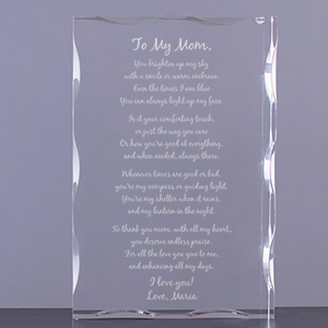 To My Mom Personalized Keepsake Block | Personalized Gifts for Moms