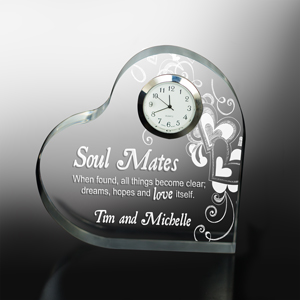 Engraved Soul Mates Heart Clock | Valentine Keepsake Gifts