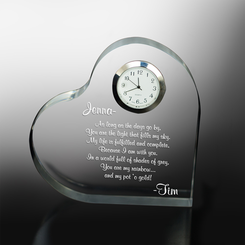 Engraved Anniversary Keepsake Clock | Valentine Keepsake Gifts