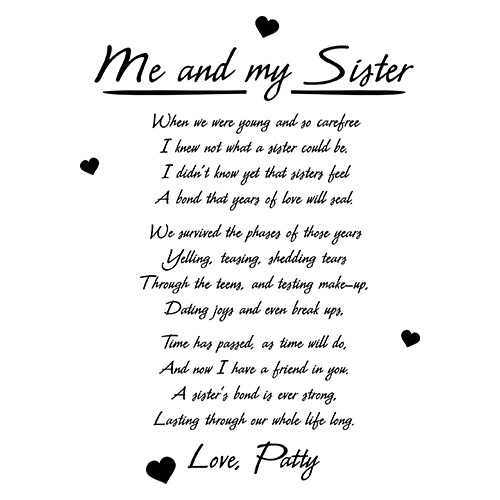 Me and My Sister Keepsake Block | Personalized Sister Gifts