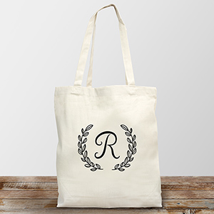 Personalized Single Initial Tote Bag | Personalized Canvas Totes