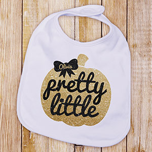 Personalized Pretty Little Pumpkin Baby Bib