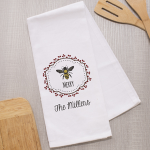 Personalized Bee Merry Dish Towel 8106509