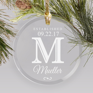 Engraved Family Round Glass Ornament | Personalized Christmas Ornaments