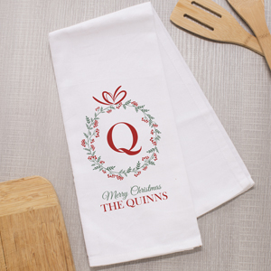Personalized Family Name Christmas Dish Towel | Personalized Christmas Decor