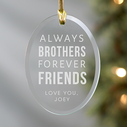 Engraved Brother Oval Glass Ornament | Personalized Family Christmas Ornament