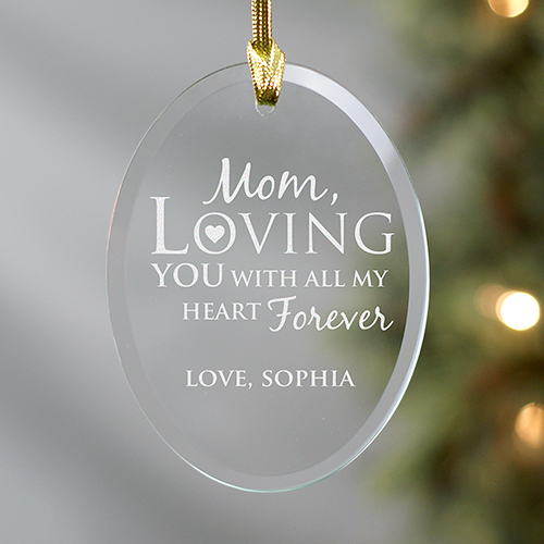 Engraved Mom or Dad Oval Glass Ornament 8107064