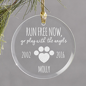 Engraved Pet Memorial Round Glass Ornament | Memorial Christmas Ornaments