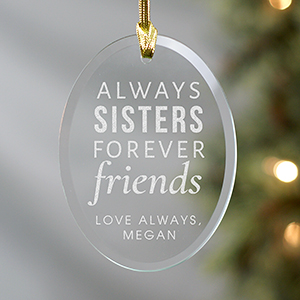 Engraved Sister Oval Glass Ornament 8107734