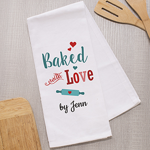 Personalized Baked with Love Dish Towel | Personalized Cooking Gifts