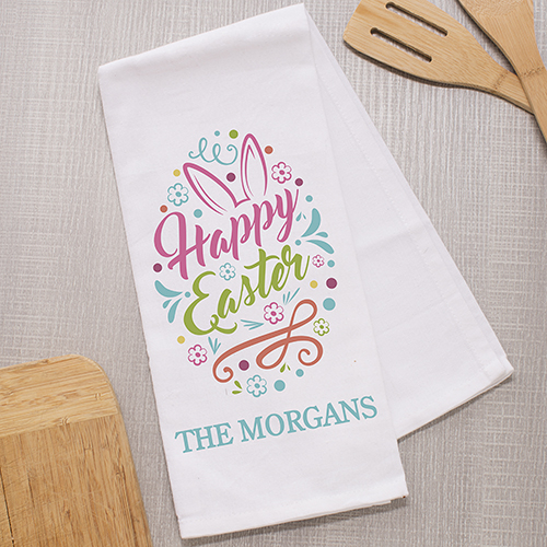 Personalized Happy Easter Dish Towel | Personalized Kitchen Towels