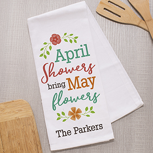 April Showers Personalized Dish Towel | Spring Gifts