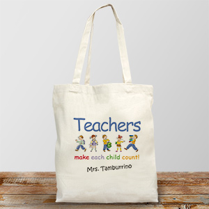 Personalized Canvas Teacher Tote Bag Make Each Child Count | Personalized Teacher Gifts