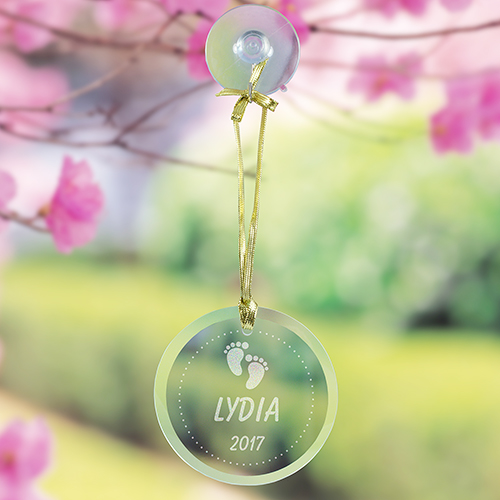 Personalized Round Glass Suncatcher for Baby | Personalized Baby Keepsakes