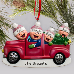 Personalized Family Truck Ornament | Personalized Family Christmas Ornaments