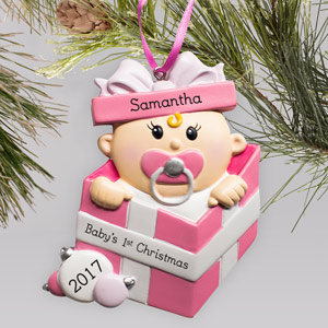 Personalized Special Delivery Girl Ornament | Personalized Baby's First Christmas Ornament
