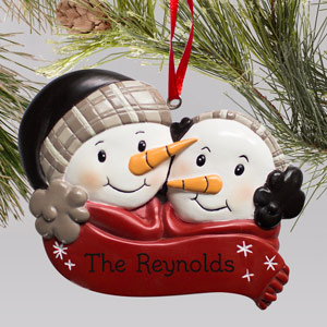 Engraved Snowman Couple Ornament | Personalized Christmas Ornaments