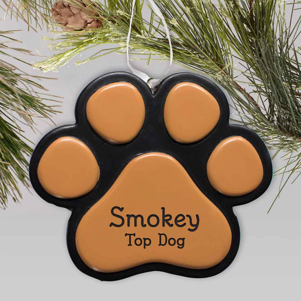 Engraved Paw Print Pet Ornament | Personalized Pet Ornaments